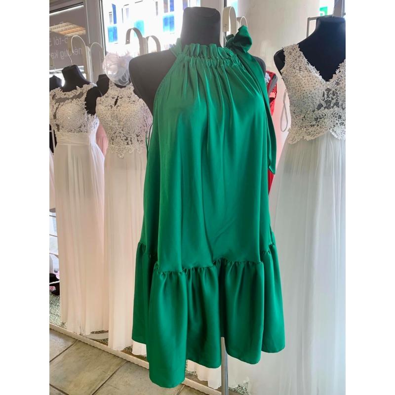 Green szatén ruha