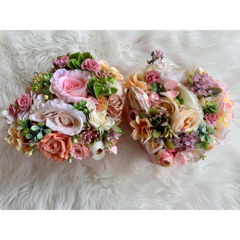 Szülőköszöntő virágbox szív alakú